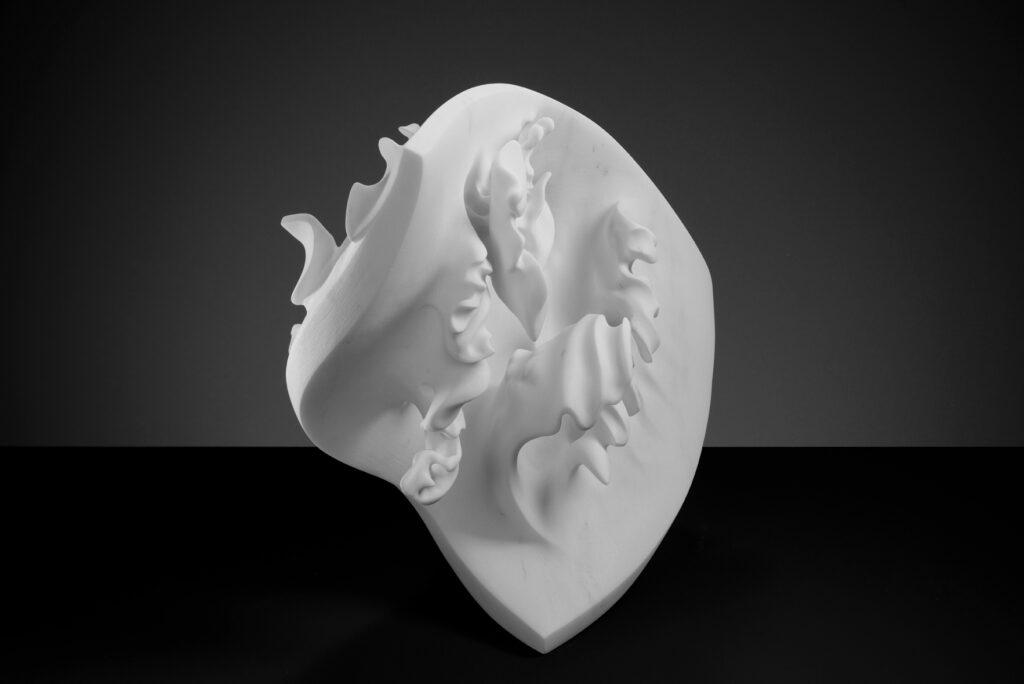 Onda, marmo Carrara Statuario, anno 2017, 60x60x25
